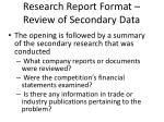 research report format review of secondary data