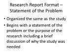 research report format statement of the problem
