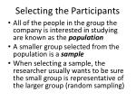 selecting the participants