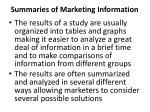 summaries of marketing information