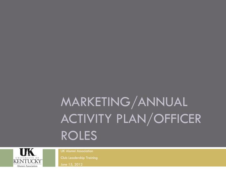 marketing annual activity plan officer roles n.