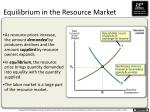 equilibrium in the resource market