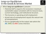 long run equilibrium in the goods services market1