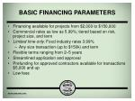 basic financing parameters