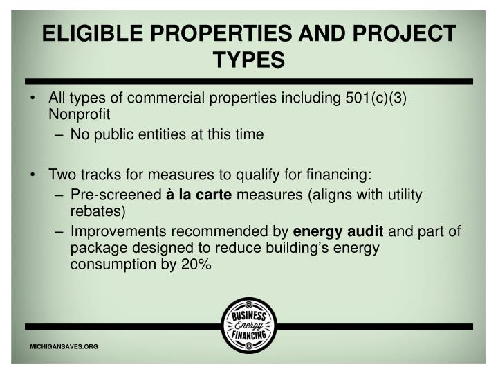 Eligible properties and Project Types