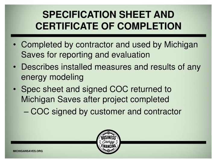 Specification Sheet and certificate of compl