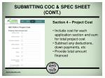 submitting coc spec sheet cont6