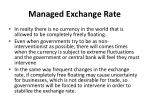 managed exchange rate