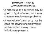 summary high low exchange rates