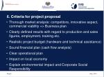 6 criteria for project proposal