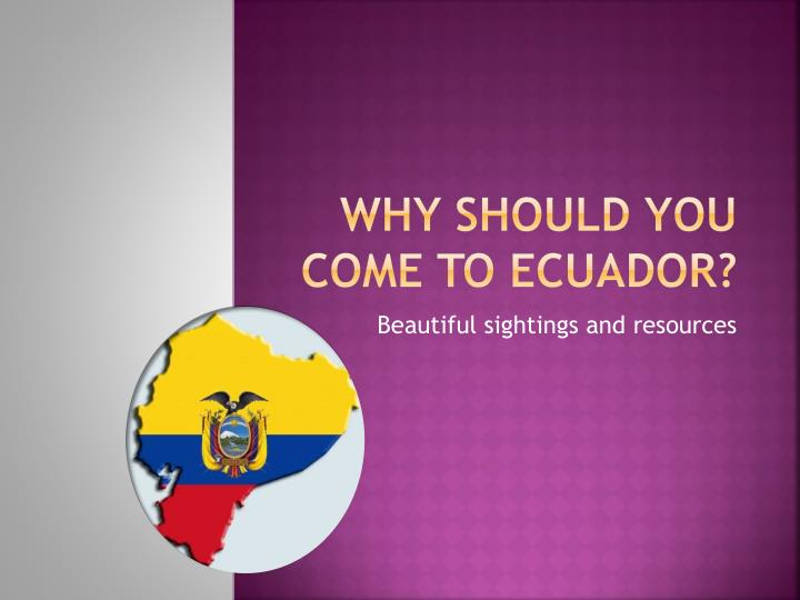 why should you come to ecuador n.