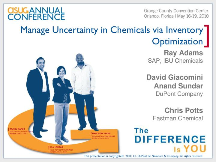 manage uncertainty in chemicals via inventory optimization n.