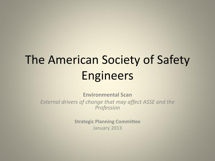 the american society of safety engineers n.