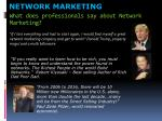 what does professionals say about network marketing1