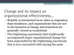 change and its impact on organizational effectiveness