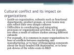 cultural conflict and its impact on organizations