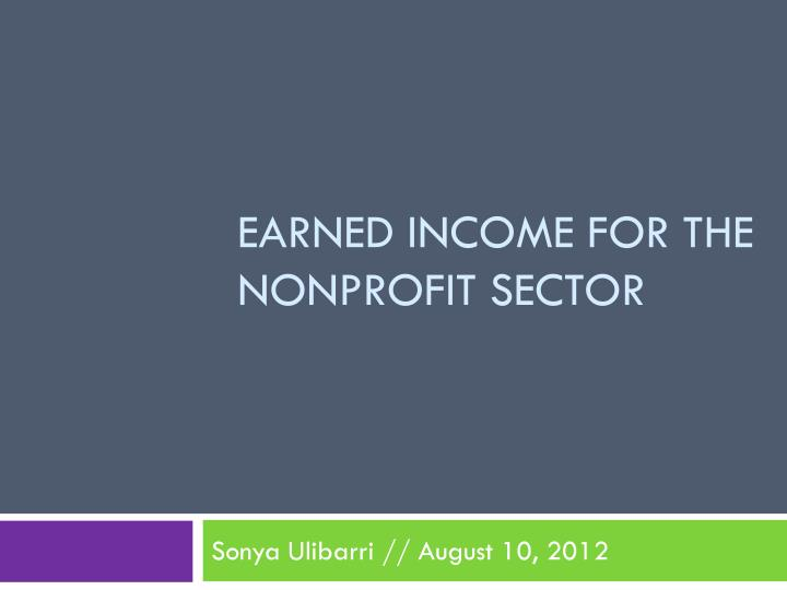 earned income for the nonprofit sector n.