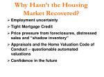why hasn t the housing market recovered
