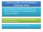 cwcd islamic microfinance training wing
