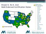 dream it do it and nam endorsed certification states