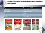 national food preferences adaptation the case of campbell