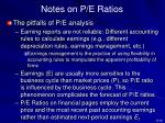 notes on p e ratios