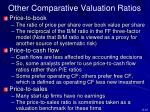 other comparative valuation ratios