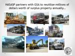 nasasp partners with gsa to reutilize millions of dollars worth of surplus property annually