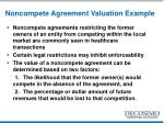 noncompete agreement valuation example