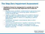 the step zero impairment assessment