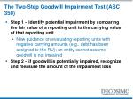 the two step goodwill impairment test asc 350