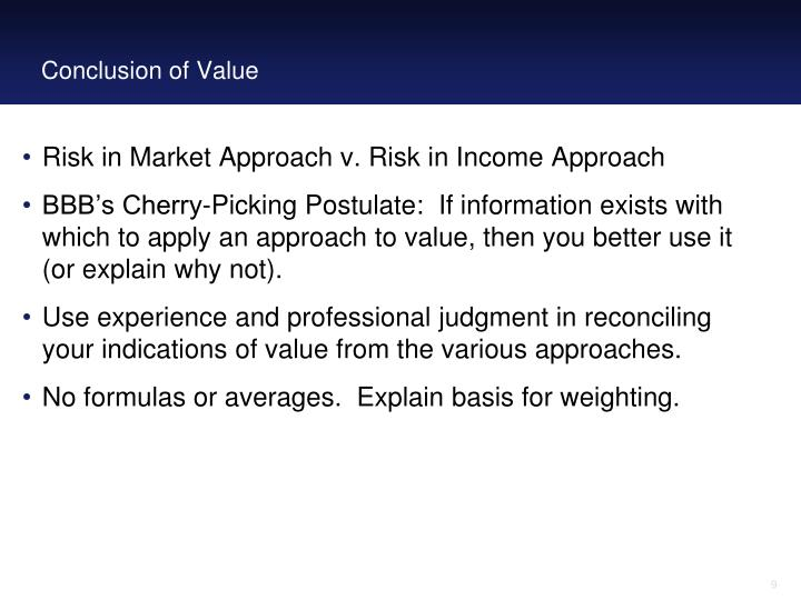 Conclusion of Value