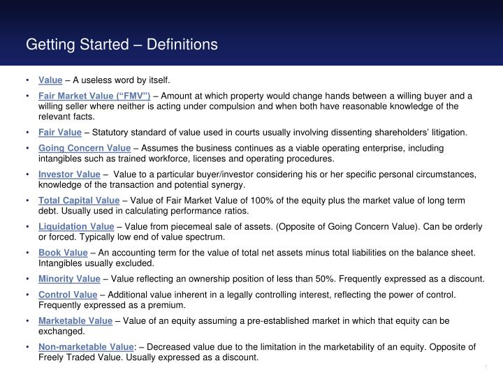 Getting started definitions