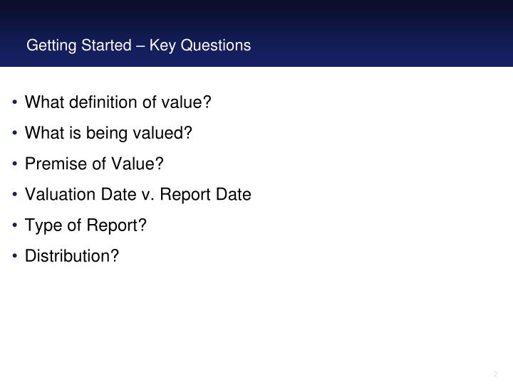 Getting started key questions