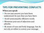 tips for preventing conflicts