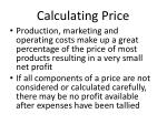 calculating price