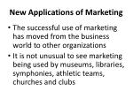new applications of marketing