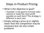 steps in product pricing