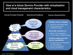 view of a future service provider with virtualization and cloud management characteristics