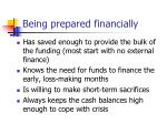 being prepared financially