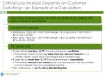 critical loss analysis depends on customer switching an example of a calculation