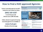 how to find a hud approved agencies