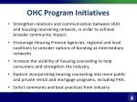 ohc program initiatives