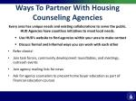 ways to partner with housing counseling agencies