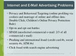 internet and e mail advertising problems