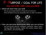p p urpose goal for life you will find see what you seek