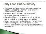 unity food hub summary