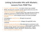 linking vulnerable hhs with markets lessons from psnp plus