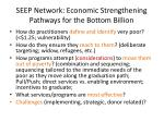 seep network economic strengthening pathways for the bottom billion