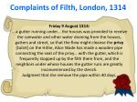 complaints of filth london 1314
